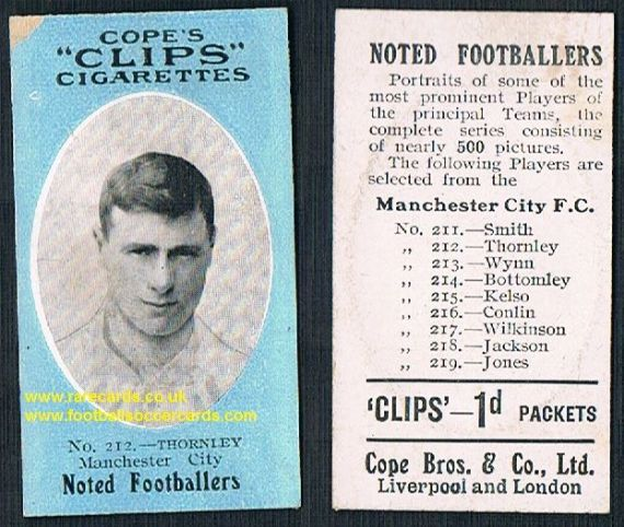 1909 Cope's Clips 3rd series Noted Footballers, 500 back, 212 man City Thornley